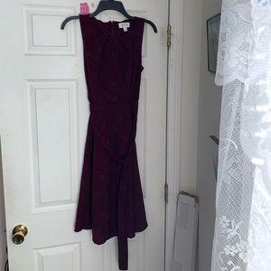 Floral pattern burgundy dress.